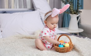 Picture child, eggs, Easter, ears