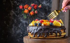 Picture berries, chocolate, cake, fruit, plug, pancake, pancake cake