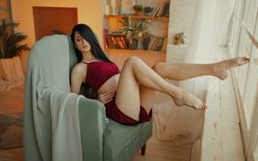 Picture girl, pose, feet, chair, pajamas, plaid, Ivan Kovalev, Алина Колесникова