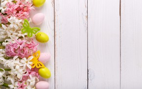 Picture flowers, holiday, eggs, spring, Easter, hyacinths