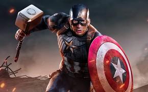 Picture hammer, hero, costume, shield, Marvel, Captain America, Chris Evans