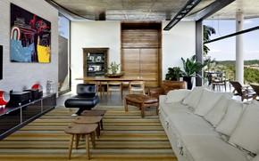 Picture design, style, interior, living room, dining room, by Leo Romano, House in Goiânia, Casa Escalada