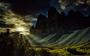 Picture the sun, rays, landscape, mountains, nature, The three Peaks of Lavaredo, The Dolomites