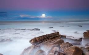 Picture sea, stones, horizon