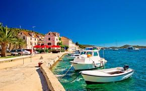 Picture the city, boats, promenade, Croatia, Adriatica, Croatia, Jadran, Rogoznica, Rogoznica, Boats at the city promenade