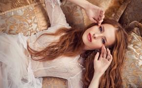 Picture look, girl, face, pose, hair, pillow, hands, red, redhead, Ekaterina Voronina, Natalia Magicka