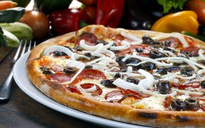 Picture cheese, pepper, pizza, olives, sausage, pizza, filling, cheese, pepper, sausage