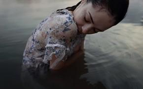 Picture girl, wet, dress, freckles, Aleks Five, Elizabeth Mills
