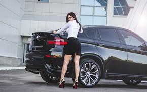 Picture look, Girls, BMW, beautiful girl, Natalia, black car, posing on the car