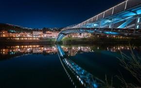 Picture bridge, lights, France, the evening, backlight, Lyon