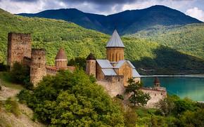 Picture landscape, mountains, clouds, nature, river, fortress, architecture, Georgia, Ananuri, Mtskheta-Mtianeti