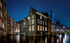 Picture the sky, night, the city, home, stars, lighting, Amsterdam, channel, Netherlands, bridges