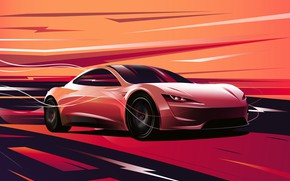 Picture Roadster, art, art, Tesla, 2020