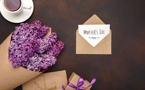Picture flowers, gift, coffee, spring, lilac, the envelope