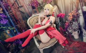 Picture chest, look, girl, flowers, face, pose, style, background, room, red, chair, stockings, makeup, dress, blonde, …