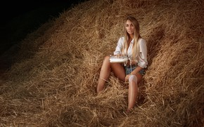 Picture girl, bottle, the situation, milk, hay, Alexander Drobkov-Light, Daria Herman