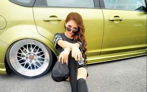 Picture auto, look, Ford, Girls, glasses, Asian, beautiful girl, posing on the car