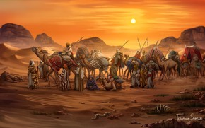 Wallpaper Sunset, Figure, The game, Caravan, Egypt, Art, Game, Illustration, Camels, Game Art, Board Game, Century ...