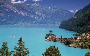 Picture Switzerland, Lake Brienz, Iseltwald, еhe bird's eye view