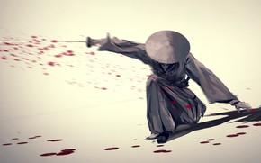 Picture katana, blade, samurai, blow, blood, swordsman, blood spatter