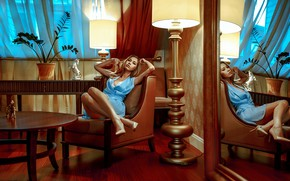 Picture girl, interior, chair, dress, shoes, Olya, Andrey Metel'kov