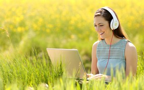 Picture greens, field, grass, girl, the sun, pose, smile, mood, makeup, headphones, dress, hairstyle, laptop, brown …