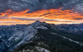 Wallpaper the sky, clouds, mountains, Nature, the evening, Yosemite national Park