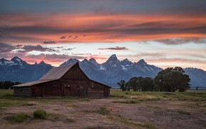 Picture field, summer, the sky, grass, clouds, trees, landscape, sunset, mountains, clouds, nature, house, tops, the …