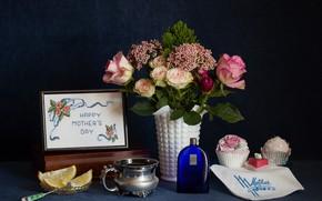 Wallpaper flowers, lemon, roses, bouquet, citrus, still life, cakes