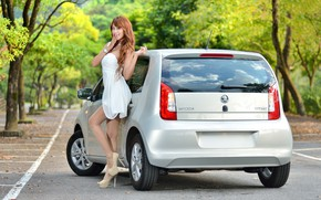 Picture road, auto, look, Girls, Asian, beautiful girl, Skoda, posing on the car