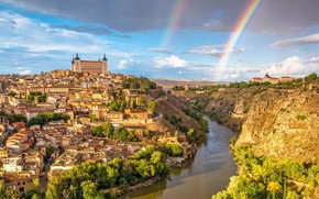 Picture the city, river, Spain, Toledo, Toledo con dos Arco Iris