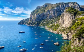 Picture mountains, the city, rocks, yachts, Italy, Capri