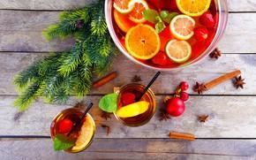 Picture lemon, tree, orange, strawberry, juice, Christmas, cinnamon, citrus
