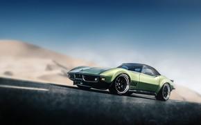 Picture Auto, Corvette, Green, Machine, Chevrolet Corvette, Sports car, Stinger, Blind Sarathonux, C3, by Sarathonux Kor, …