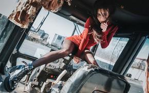 Picture pose, Girl, technique, dress, tractor, legs, Anton Kharisov