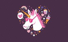 Picture glasses, unicorn, sweets, heart, unicorn