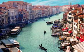 Picture city, river, buildings, boat, venice