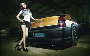 Picture auto, look, Girls, Chrysler, Asian, beautiful girl