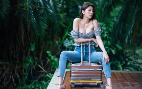 Picture girl, pose, jeans, suitcase, Asian