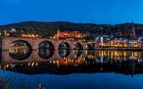 Picture bridge, reflection, river, castle, hills, building, home, Germany, night city, Germany, Old bridge, Baden-Württemberg, Baden-Württemberg, …