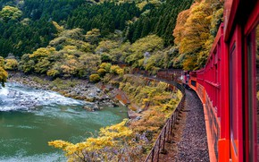 Picture train, Japan, Kyoto, железная дорога Сагано