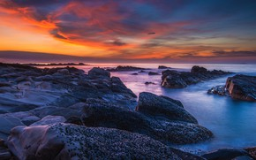 Picture sea, the sky, clouds, sunset, blue, stones, rocks, shore, color, the evening, horizon, surf, twilight, …
