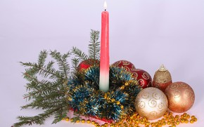 Picture balls, candle, New year, tinsel