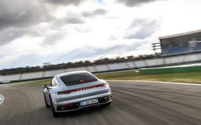 Picture movement, coupe, track, 911, Porsche, Carrera 4S, 992, 2019