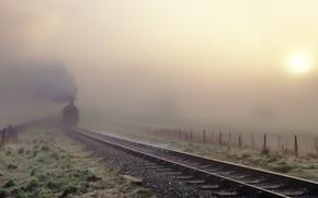 Picture fog, rails, train, morning, Steam train in the fog