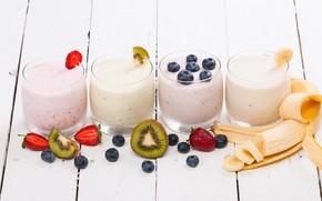 Picture berries, Breakfast, kiwi, blueberries, strawberry, glasses, fruit, banana, wood, yogurt