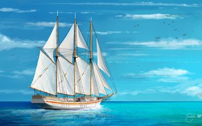Picture Sea, Figure, Ship, Sailboat, Art, Ship, Schooner, Shellz - art, Shellz, By Shellz, By Shellz …