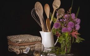 Picture flowers, bouquet, still life, Cutlery, kitchen utensils