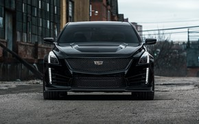 Picture Cadillac, Muscle, CTS-V, Front, Black, Lights, Face