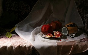 Picture light, the dark background, mug, fabric, fruit, still life, items, grenades, composition